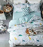 Eikei Home Dinosaurs Bedding Children Boys or Girls Fun Dinos Twin Full Toddler Colorful Duvet Cover and Sheet Set Bright Multicolored Green Blue Orange Yellow (Full, Light Blue)