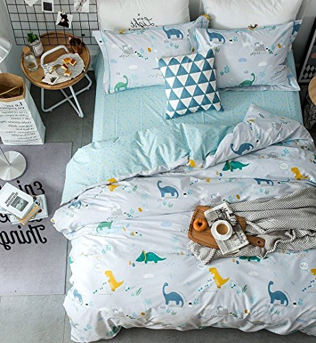 Eikei Home Dinosaurs Bedding Children Boys or Girls Fun Dinos Twin Full Toddler Colorful Duvet Cover and Sheet Set Bright Multicolored Green Blue Orange Yellow (Full, Light Blue) by Eikei Home