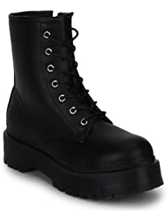 3c214f78ee0 TRUFFLE COLLECTION Black SU Lace-Up Ankle Boots: Buy Online at Low ...