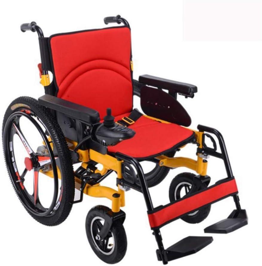 DONG Silla de Ruedas eléctrica - Las Mejores sillas de Ruedas motorizadas Plegables Ligeras La Mejor batería eléctrica de Litio para Trabajo Pesado (Amarillo)