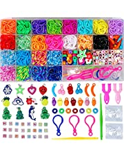 Rainbow Rubber Bands Kits Bracelet Making Kit for Girls Loom Bands Kits with Storage Container 23 Colors DIY Birthday Gift for Girl Craft Kits for Kids Friendship Gift
