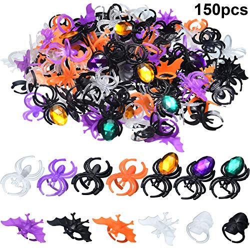150 Pieces Halloween Spider Ring Skull Bat Ring Spider Party Favors Fake Plastic Spider Ring for Halloween Decoration