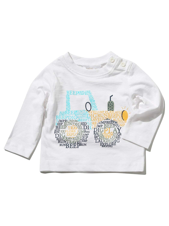 M& Co Baby Boy Cotton White Long Sleeve Crew Neck Slogan Truck Print T-Shirt