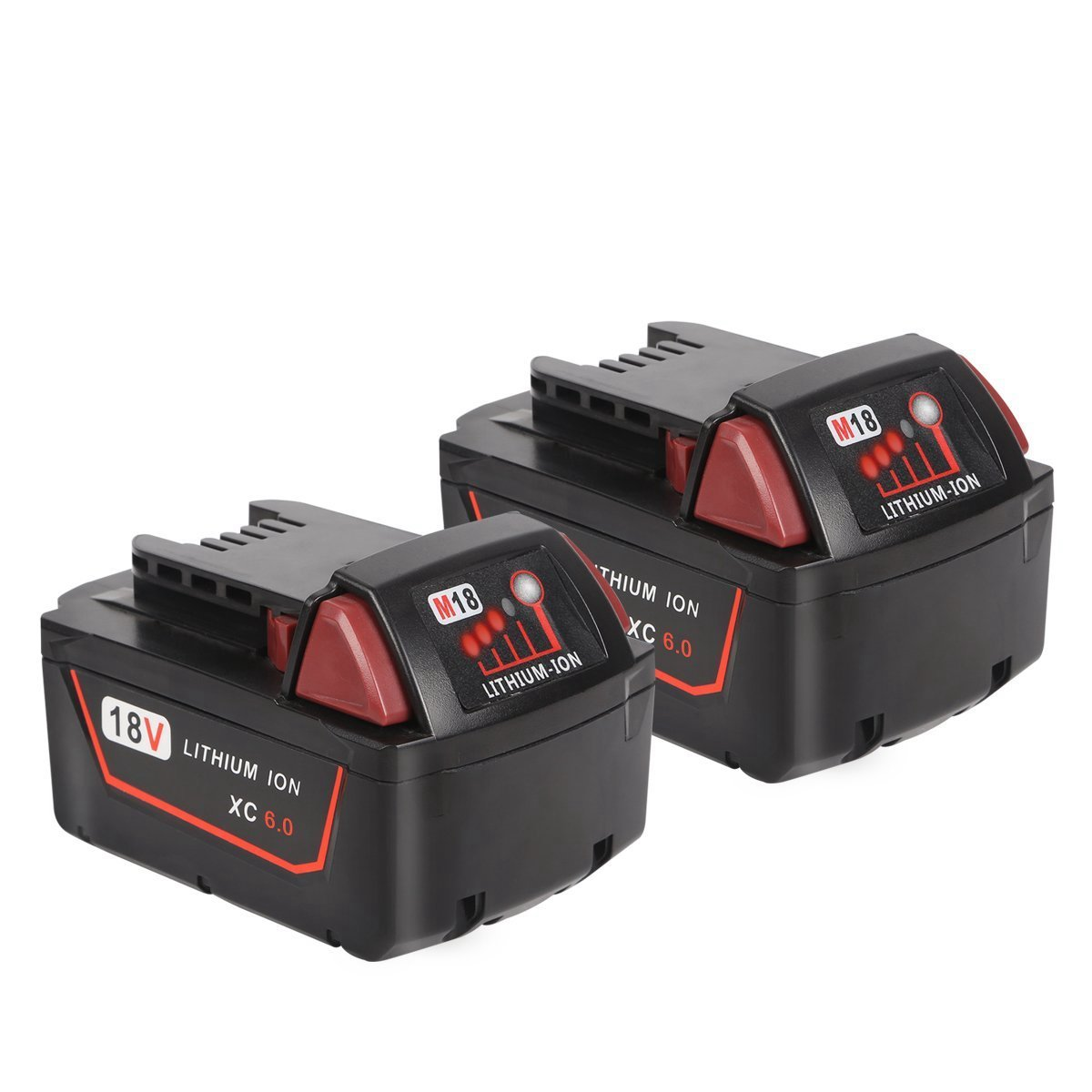 Enegitech 18V 6.0Ah Lithium-ion Battery Replacement for Milwaukee M18 XC Red Lithium M18B 48-11-1860 48-11-1850 48-11-1820 48-11-1828 48-11-1815 Cordless Power Tools