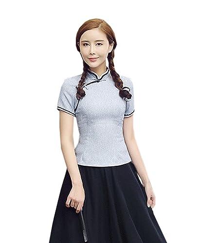 YueLian Para Mujeres Camisa del Verano de Color Solido Blusa de Temperamento Elegante De Manga Corta
