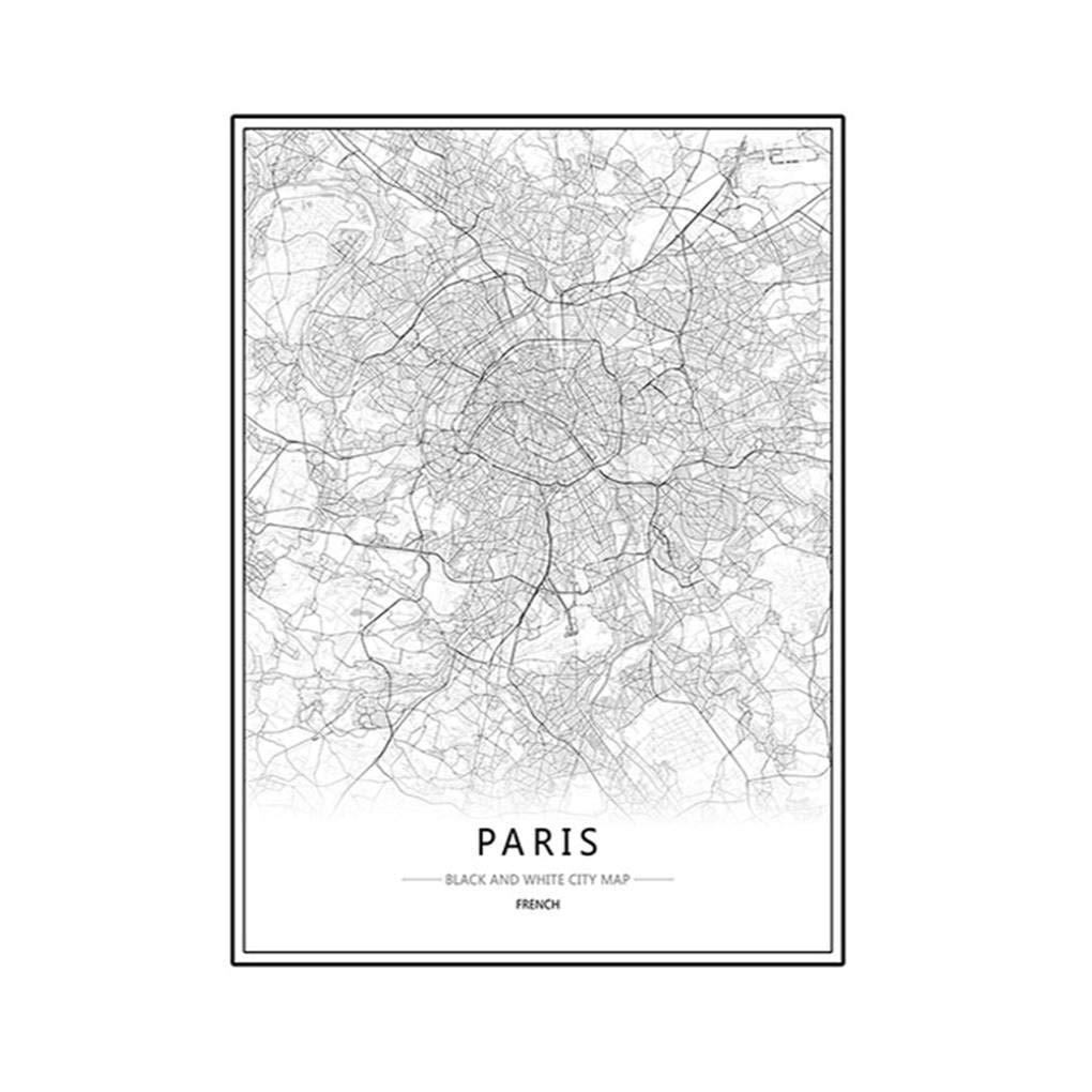 Cdrox London New York Paris Leinwand Wandmalerei Weltstadtkarte Plakat Schwarz Wei/ß abstraktes /Öl Bild Unframed /Öl Zeichnung