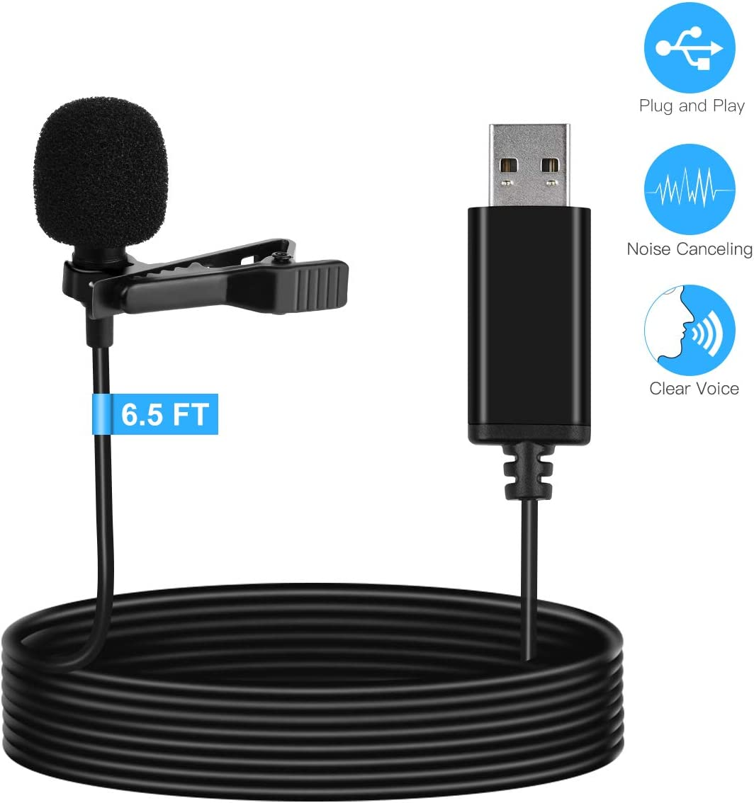 LarmTek USB lavalier Microphone,Lapel Microphone Compatible with Laptop,Desktop,PC and Mac,Omnidirectional Microphone Perfect for Video Recording,Skype,Cameras,Remote Work Streaming,Podcasting