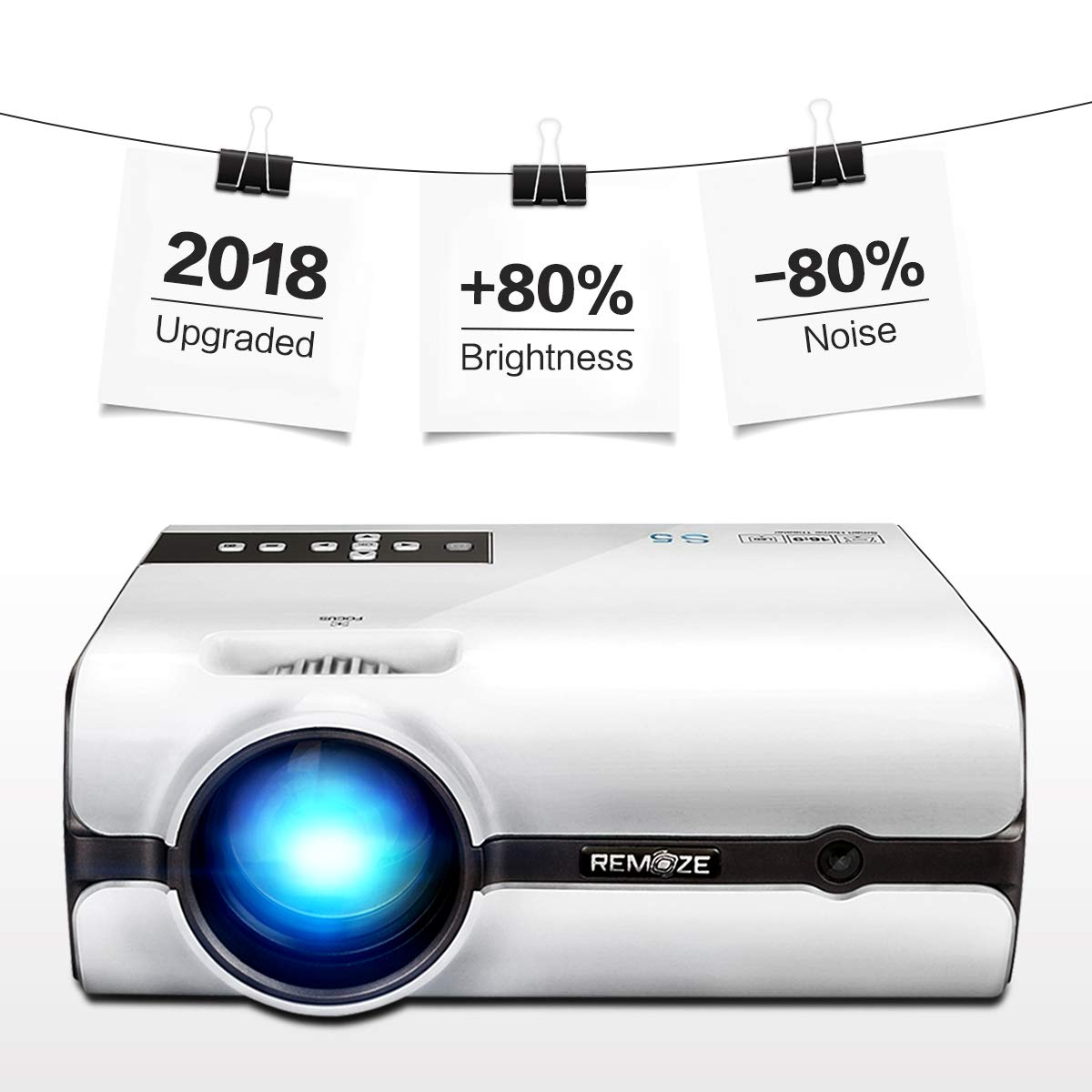 Projector,2018 Upgraded (+80% Lumens) Remoze Mini Portable LED Video Projector HD 1080P Multimedia Home Theater Outdoor Party Business(White)