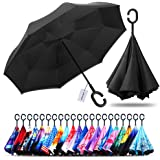 Colourful Water Double Layer Inverted Umbrella Carrying Bag for Traveling Upside Down Inside Out Reverse Umbrella,C-Shape Handle /& Self-Stand to Spare Hands