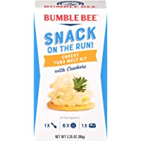 BUMBLE BEE Snack On The Run Crackers Kit, Cheesy Tuna Melt, 3.35 Ounce Kit (Case of 12), High Protein Snack Food, Canned…