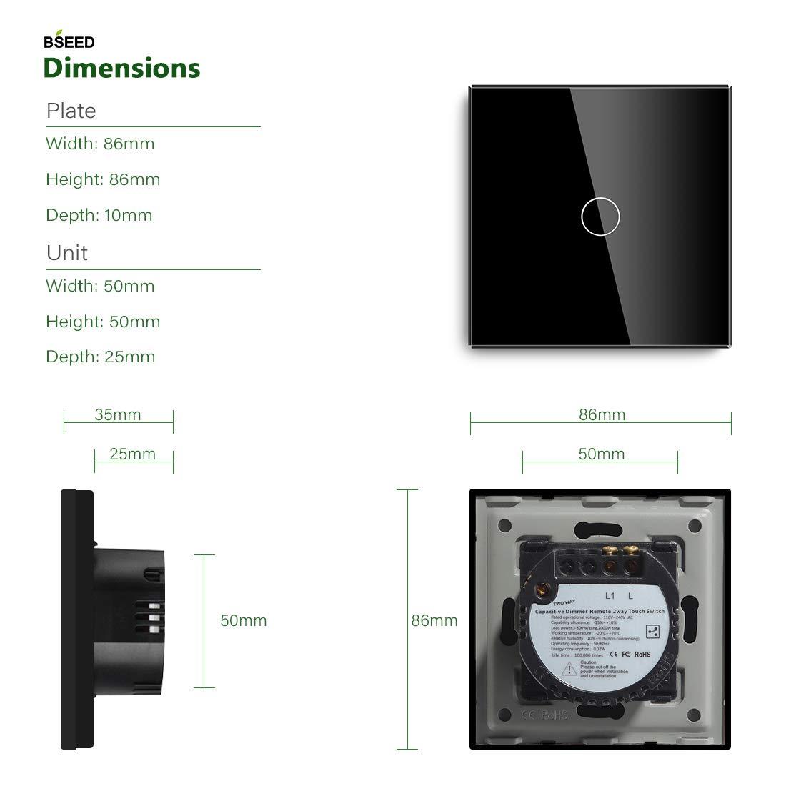 Adaptador Led requerido BSEED Interruptor regulador de luz con Remoto 1 Gang 2 Way LED Dimmer Switch interruptor t/áctil de pared con control remoto inal/ámbrico Negro