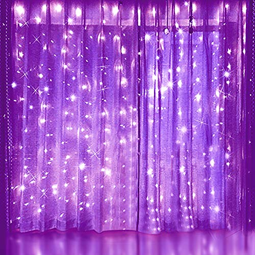 LIGHTESS Curtain Lights 300 LED Purple Icicle Light LED Fairy String Light for Indoor Outdoor Christmas Xmas Decor, SY-C1 ()