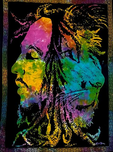 (Shubhlaxmifashion Bob Marley Lion Face Beautiful Bohemian Room Dorm Decor Hippie Small Boho Rasta Tapestry Poster 30x40 Psychedelic Reggae Tapestries Wall Art Hanging Gypsy Posters (Multi Color))