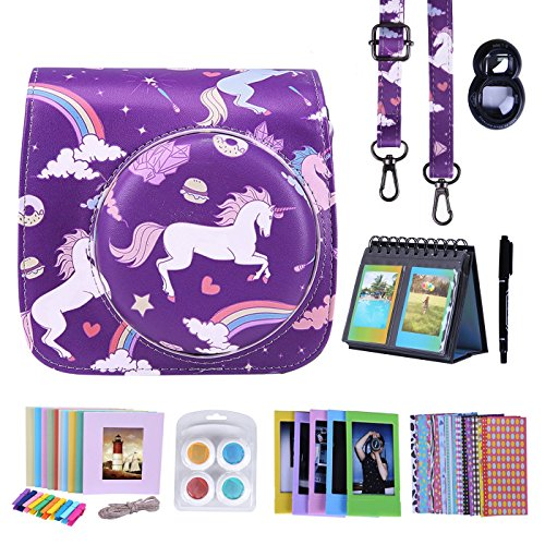 HDE Fujifilm Instax Mini 9 or 8/8+ Camera Case Accessories Box Kit: Leather Mini 9 Case + Strap/Fuji Album/Selfie Lens/ Hanging + Creative Frames/Border Stickers/ Pen & More (Unicorns and Rainbows)