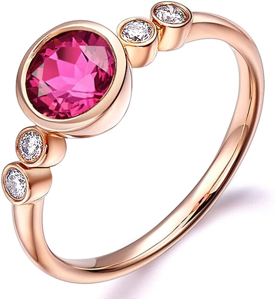 Lujoso Estilo 14K Oro rosa Naturales Rosa Turmalina Piedra preciosa Compromiso Boda Nupcial Diamante Moda Anillo para Mujer