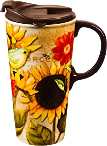 Sunflower and Bird Ceramic Travel Cup - 4 x 5 x 7 Inches