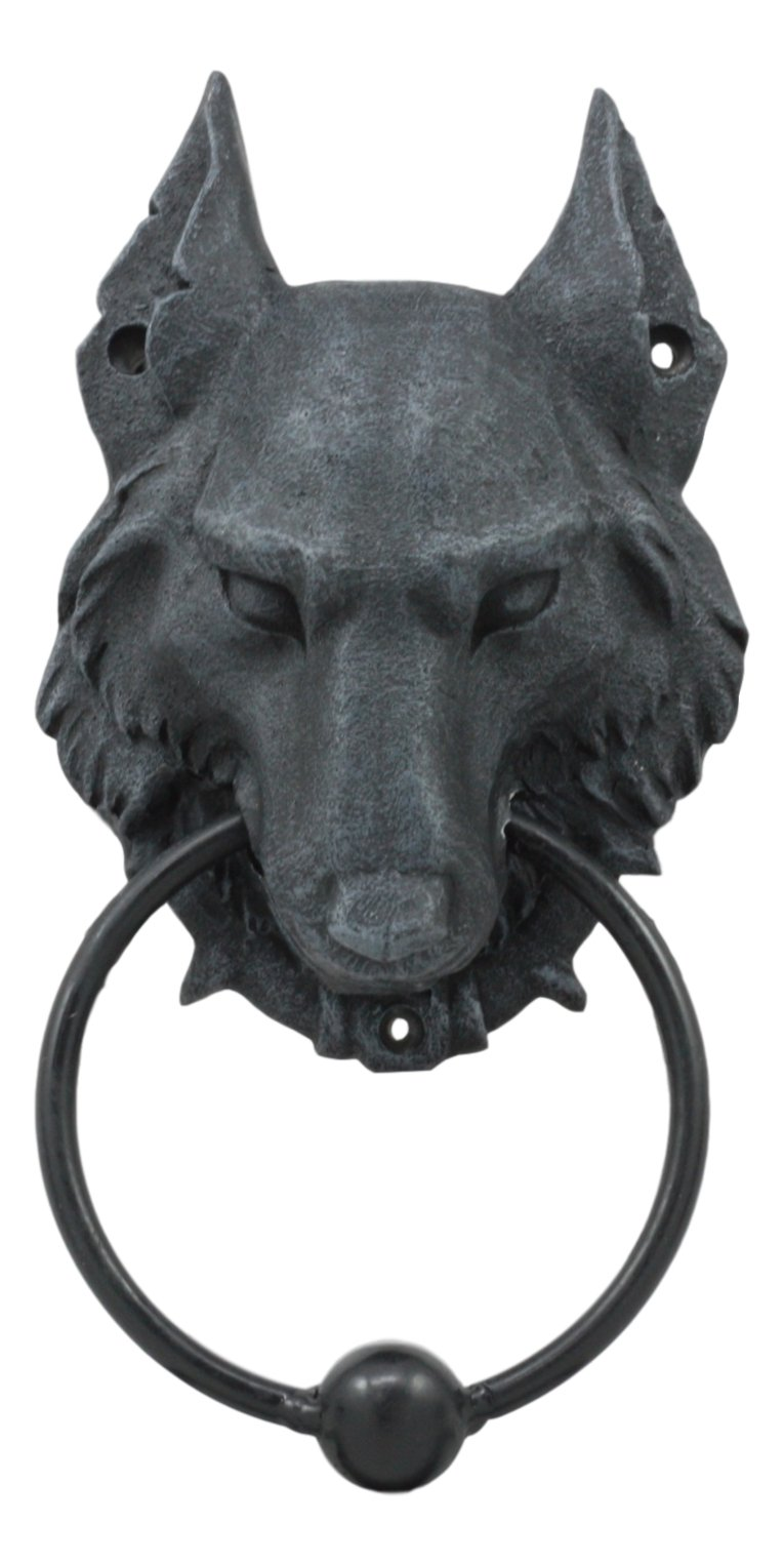 Ebros Full Moon Gothic Chained Wolf Gargoyle Door Knocker Figurine 8.25''Tall Faux Stone Finish With Metal Ball