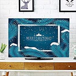 """PRUNUS tv dust Cover Holiday Christmas Background Frozen Blue fir Tree and Text Greeting Card Vector Template. Dust Resistant Television Protector W36 x H60 INCH/TV 65"""""""