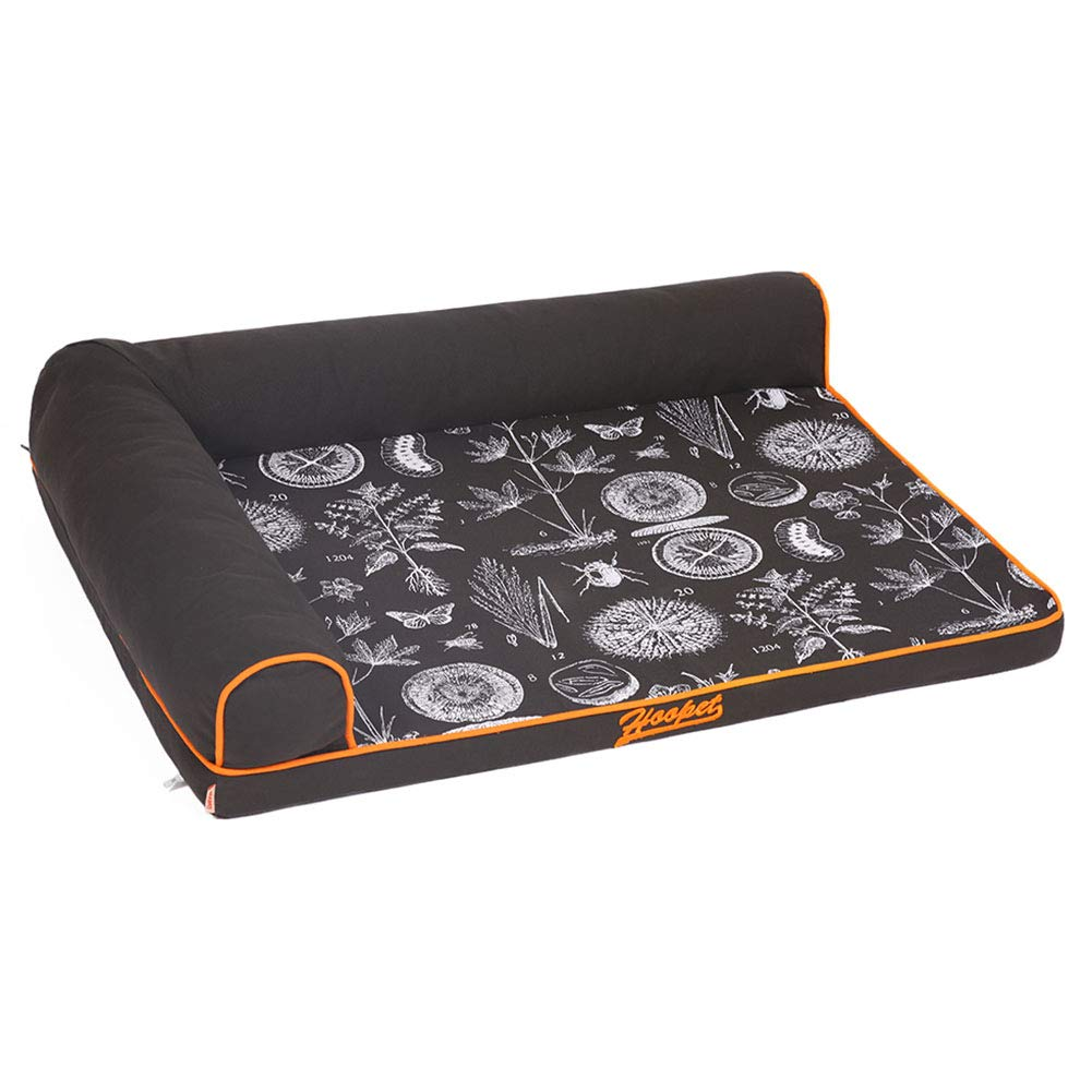 L 120×89cm LXLA Black Dog Bed with Bolsters, Pet Dogs Bed Sofa with Wear-resistant & Washable Cover (Size   L 120×89cm)