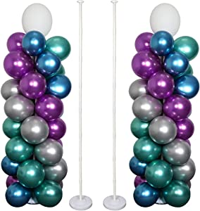 OurWarm Balloon Arch Kit 63 Inches Balloon Column Kit with Base Stand, Balloon Garland Kit 36Pcs Balloon Rings, Balloon Tower Decoration For Baby Shower Graduation Birthday Wedding Party