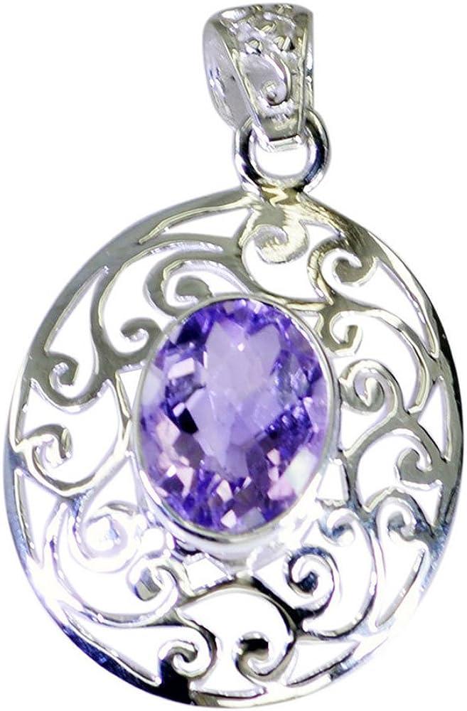 GemsOnClick Colgante de amatista natural para mujer, plata de ley, piedra natalicia de febrero hecha a mano