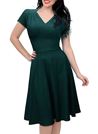 Missmay Womens 1950S Rockabilly Skaters Swing Ball Gown Dress S Dark Green