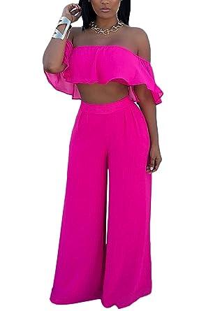 f8c643d5ba Joyfunear Women's Solid Off Shoulder Ruffle Crop Top Wide Leg Pant Set with  Pockets Rose Small