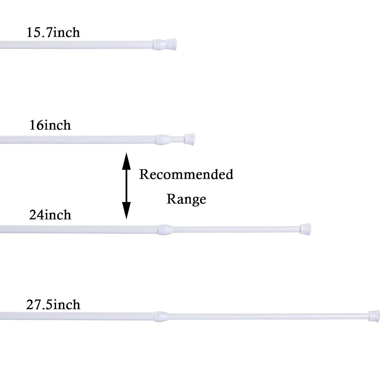 Bianco Gydandir 4 Pack Armadi Bar Canne per tende regolabili per molle 45-70cm