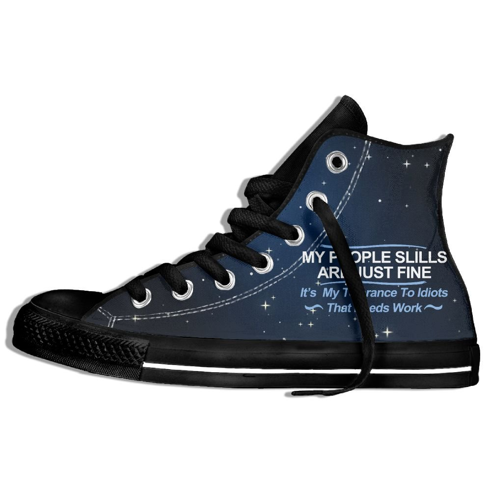 My People Skills Are Fine It's My Idiots High Top Classic Casual Canvas Fashion Shoes Sneakers For Women & Men