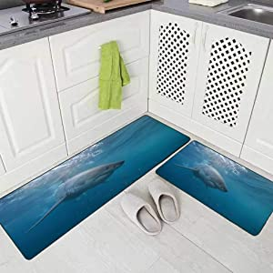 "Musesh 2 Pieces Kitchen Rugs and Mats Non Skid Washable Great White Shark Neptune Islands South Australia Ocean Carcharias Kitchen Rug Set 17""X48""+17""X24"" Kitchen Carpets and Rugs Modern Kitchen Rug"