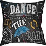 Thumbprintz Chalkboard Dance in the Rain Indoor Pillow 14x14