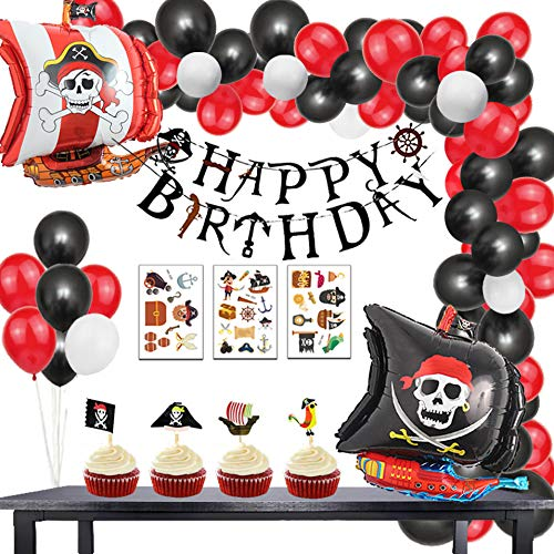 Finypa 91 Pack Pirate Birthday Party Decorations Arch Garland Kits- Happy B-Day Banner,Cake Toppers Sticks,Pirate Ship Birthday Balloons Kids Photo Props Sea Sailing Nautical Party Ideas Supplies with tattoo