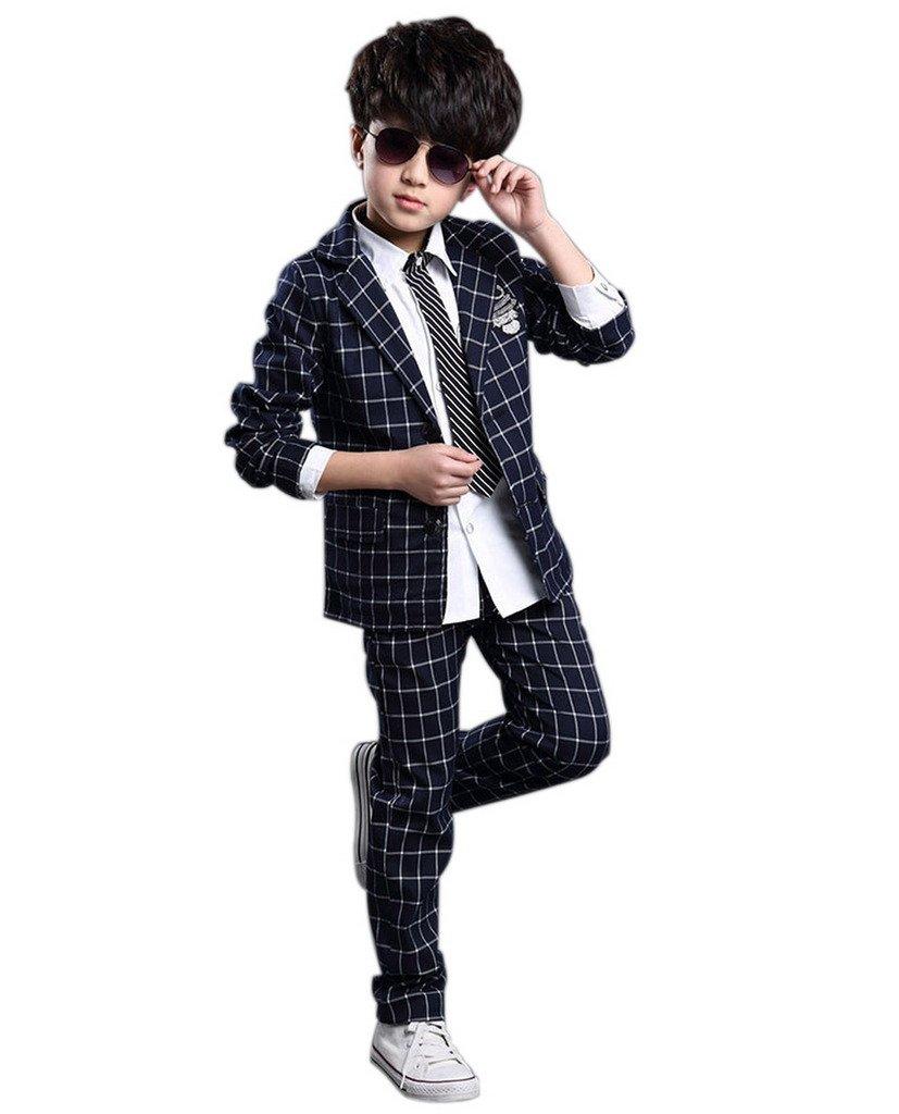 GetUBack Children Boys Plaid Suit Blazer Wedding Clothing Navy Blue CN Size 160