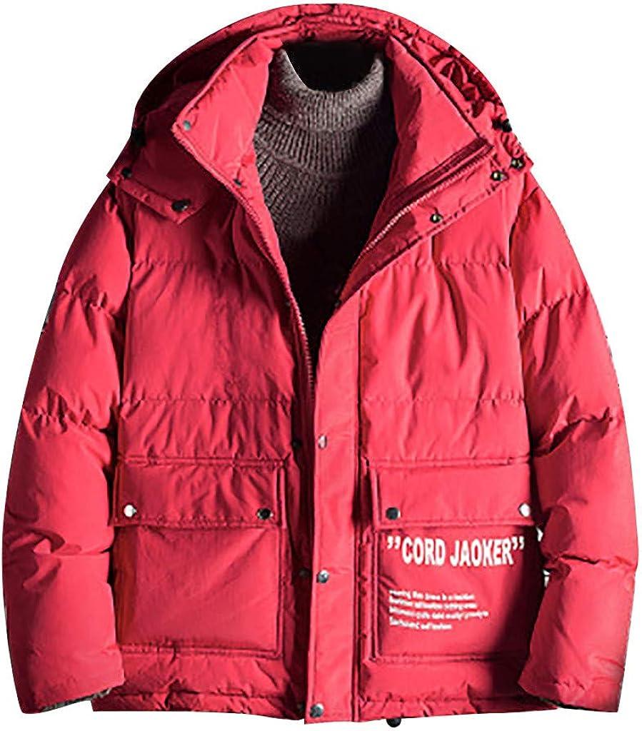 iOPQO Mens Winter Puffer Down Multi Pocket Baggy Thermal Hooded Jacket Coat