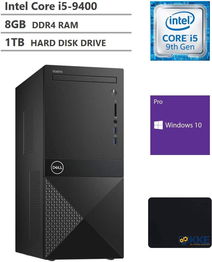 Dell Vostro 3000 Tower Business Desktop, Intel Core i5-9400 Six-Core Processor up to 4.10GHz, 8GB RAM, 1TB Hard Disk Drive, HDMI, VGA, DVD-RW, Windows 10 Pro, Black, KKE Mousepad Bundle