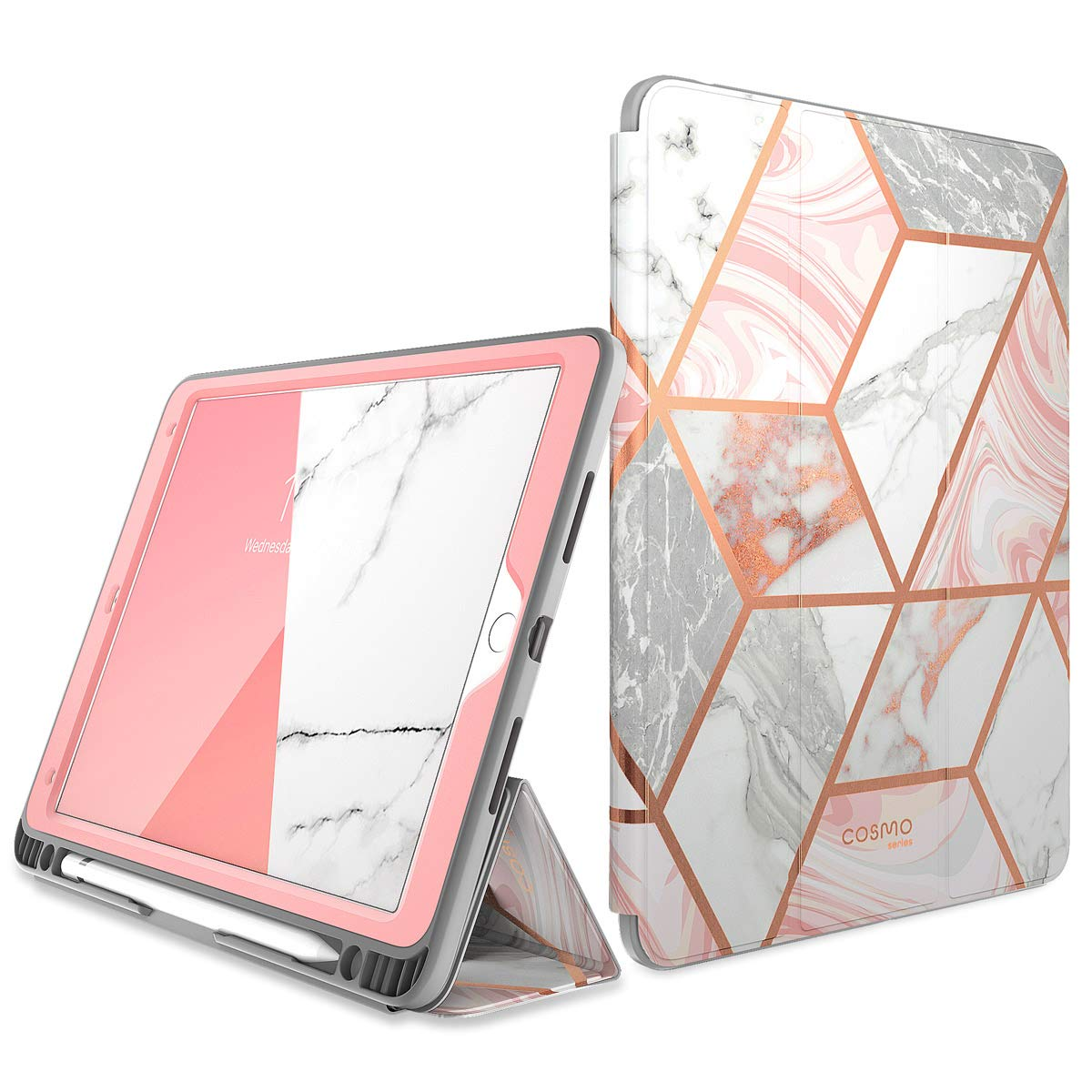 """i-Blason Cosmo Case for iPad Air 3 10.5"""" 2019 (3rd Gen) / iPad Pro 10.5 2017, [Built-in Screen Protector] Trifold Stand Protective Case Cover with Pencil Holder and Auto Sleep/Wake, Marble, 10.5"""""""