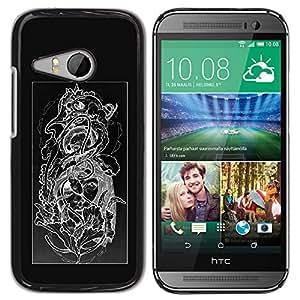 GOODTHINGS ( NO PARA HTC ONE M8 ) Funda Imagen Diseño Carcasa Tapa Trasera Negro Cover Skin Case para HTC ONE MINI 2 / M8 MINI - floral cráneo blanco negro estampado de flores