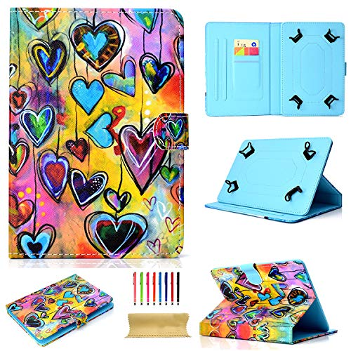 Uliking Universal Case for All 6.5-7.5 inch Tablet, Slim Lightweight Folio Flip Stand Synthetic Leather Protective Cover Magnetic Closure Shell with Card Pockets (with Free Stylus Pen), Colorful -