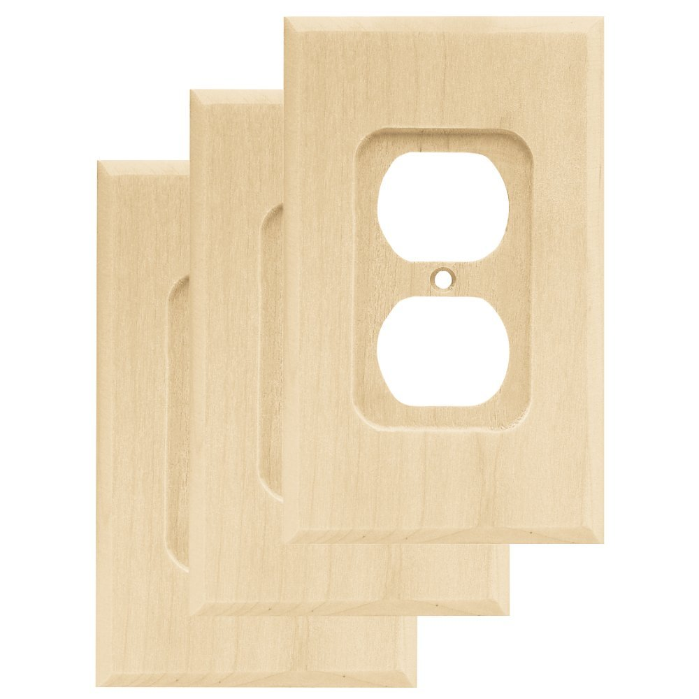 Franklin Brass W10397V-UN-C Wood Square Single Duplex Outlet Wall Switch Plate/Cover, 3 pack, Unfinished by Franklin Brass
