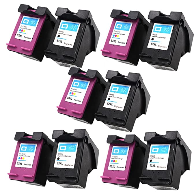 Amazon.com: QINK 10 Pack #63 XL Black/Color Ink for 63XL Deskjet 1112 2130 2132 3630 3632 ENVY 4512 4516 4520 4522 Printer: Office Products