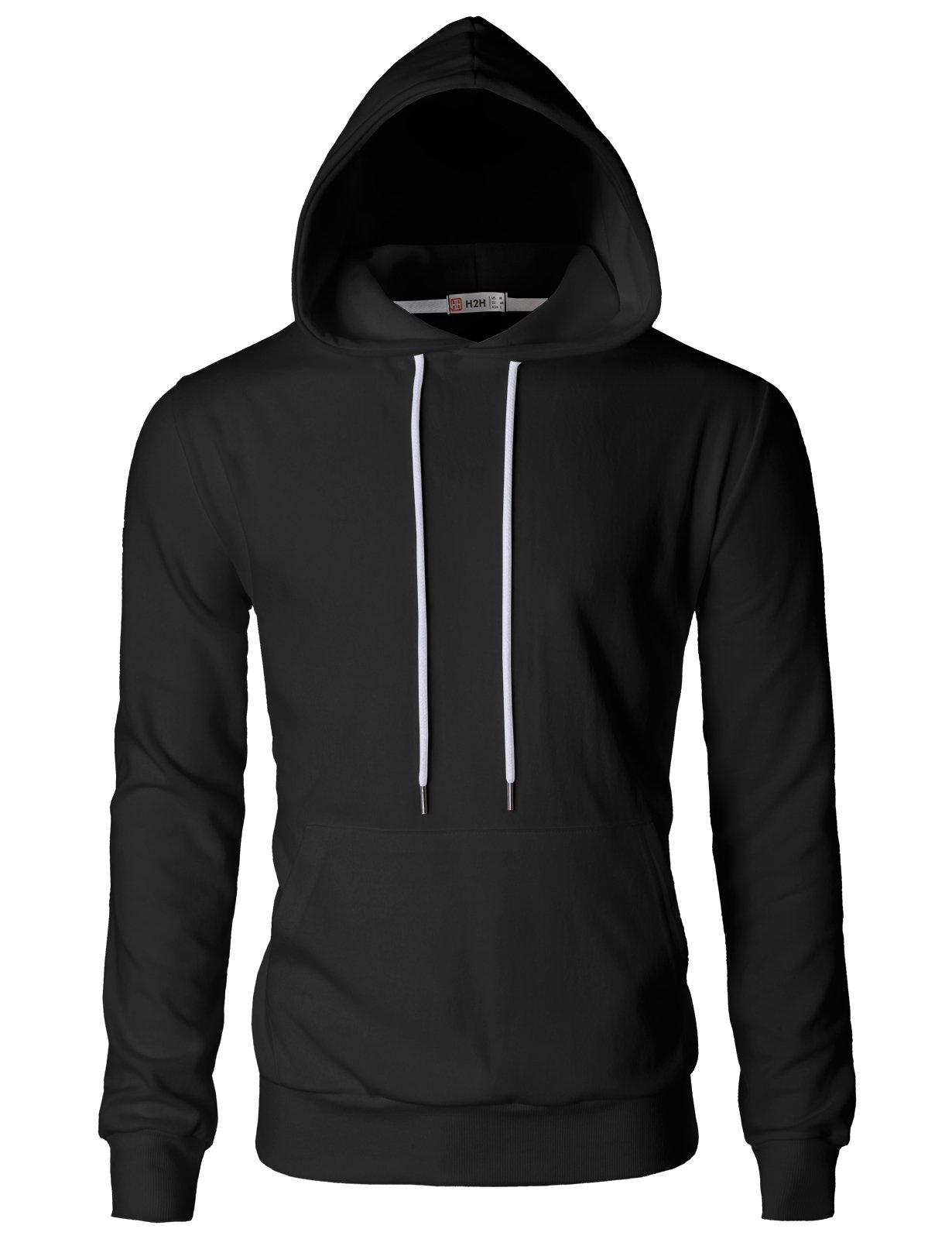 H2H Mens Casual Slim Fit Hoodie Long Sleeve Basic Designed Black US M/Asia L (CMOHOL054)