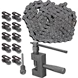 Mumaxun 415 Heavy Duty Chain 110 Link + 10pcs 415 Chain Master Link + Chain Breaker Cutter Tool for 49cc to 80cc 2-Stroke Engine Motorized Bicycles