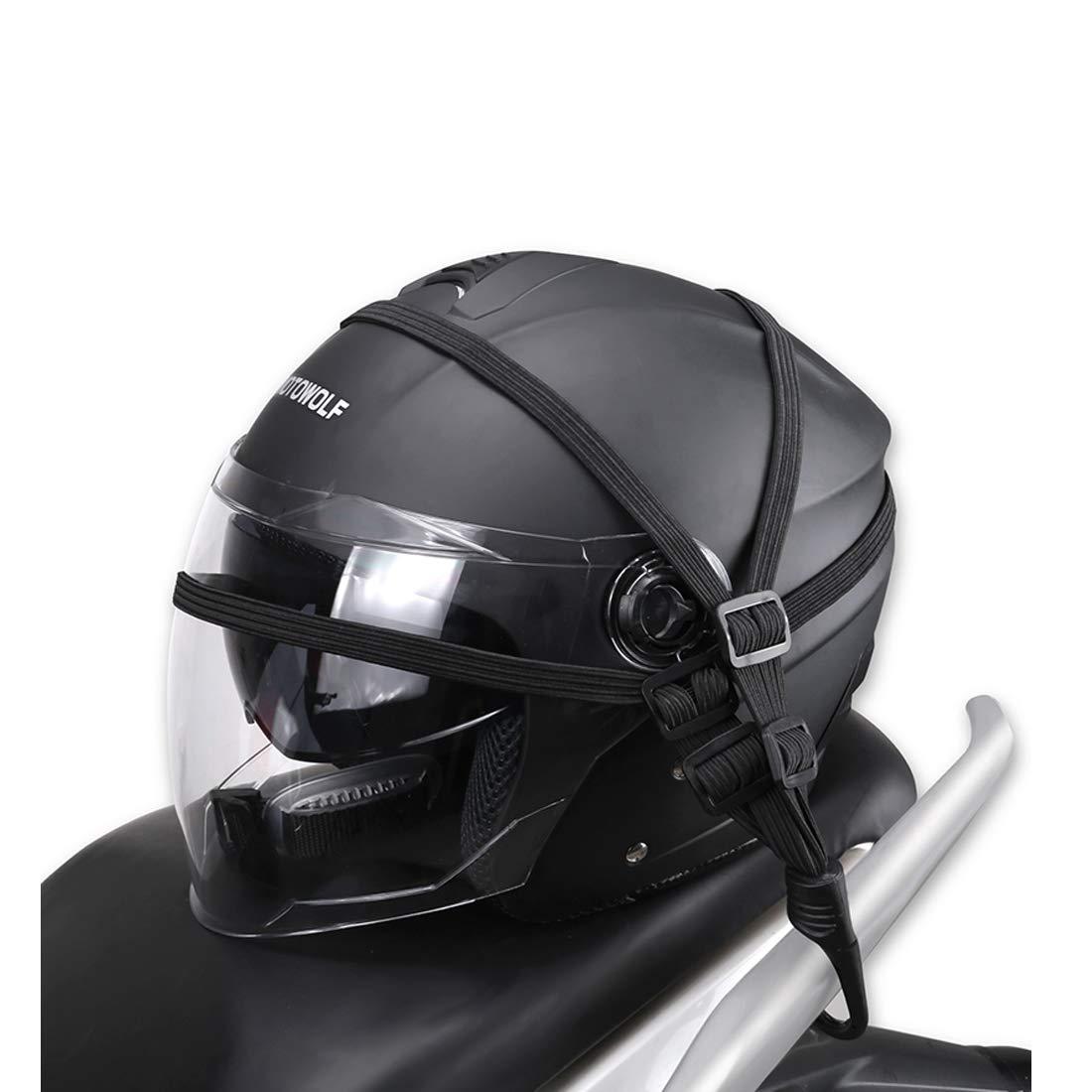 kemimoto Motorcycle Helmet Luggage Flat Strap Bungee Cords Helmet Sack Riding Bicycle Sports
