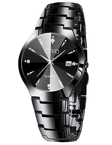 Civo Bracelet Noir Acier Inoxydable Calendrier Pour Mode Décontracté Etanche Robe Montres Business Luxury Minimaliste Homme Date bfgy7Y6