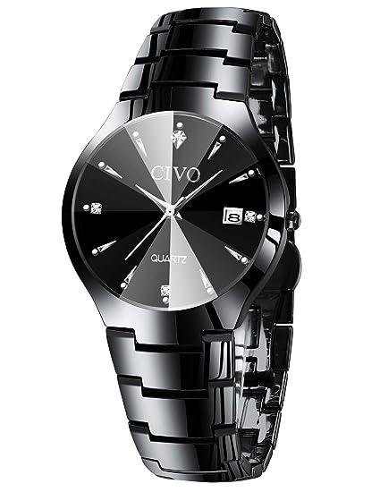 CIVO Relojes para Hombre Acero Inoxidable Impermeable Reloj de Pulsera Fecha Calendario Clásicos Analogicos Reloj de Cuarzo Negocio Casual Simple