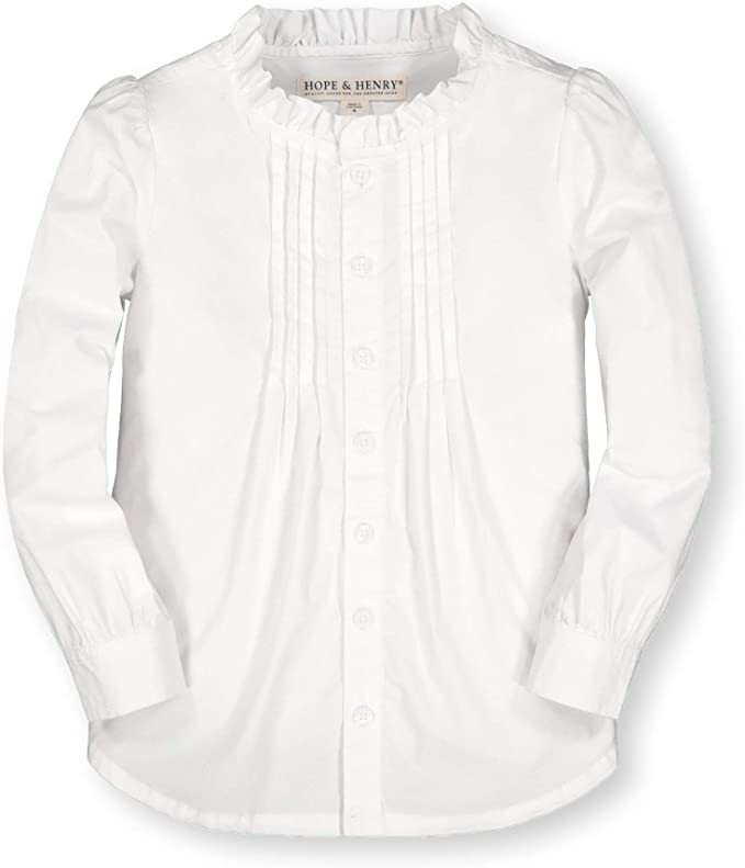 Victorian Kids Costumes & Shoes- Girls, Boys, Baby, Toddler Hope & Henry Girls Long Sleeve Button Down Pleated Blouse $23.95 AT vintagedancer.com