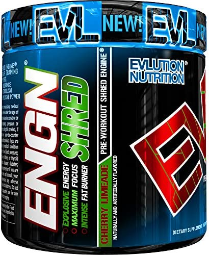 Evlution Nutrition ENGN Shred Pre Workout Thermogenic Fat Burner Powder, Energy, Weight Loss, 30 Servings Cherry Limeade