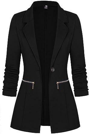 Womens Ladies Smart Short Sleeve Open Front Collar Stretchy Blazer Coat Jacket