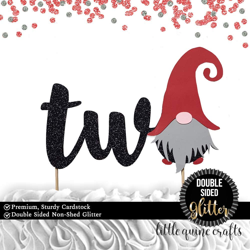 1 pc two gnome cake topper second 2nd birthday cake smash DOUBLE SIDED black glitter winter wonderland christmas