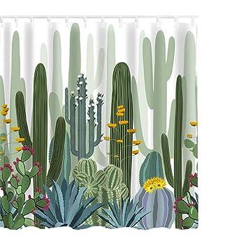 Litthing Cortina de Ducha Anti-Molde Estilo de Planta Verde 180 cm * 180 cm
